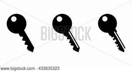 Key Icon. Set Of Black Icons Of Keys In Flat Design. Vector Illustration. Key Symbol Isolated
