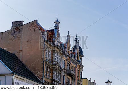 Typical Gothic Architecture Brick Building In Downtown Gniezno With Elaborate Architectural Details