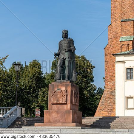 Statue Of King Boleslaw Chrobry In Front Of The Royal Cathedral In Gniezno