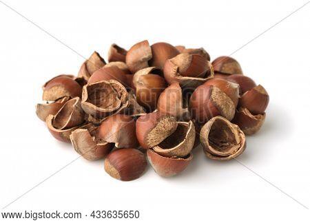 Pile of empty cracked hazelnut shells isolated on white
