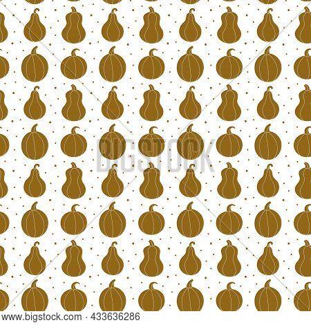 Pumpkin Silhouette Seamless Pattern, Background. Autumn Holiday. Thanksgiving Halloween Decor. Vegan