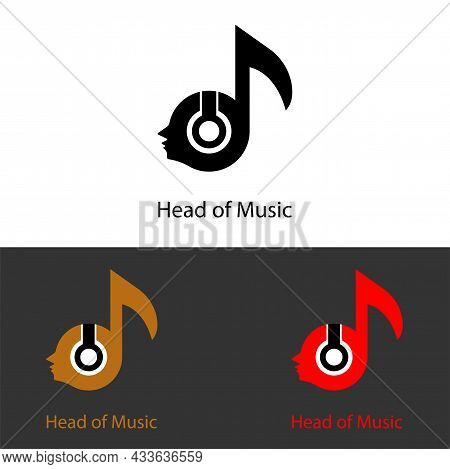 Head With Music Tone Logo Icon For Relaxing Music, Music App, Music Themed T-shirt. Vector Concept F