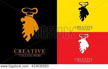 Lion Head With Chef Crown, Great For Lion King Chef Logo Icon, Beast, Nature, Power, Restaurant, Foo