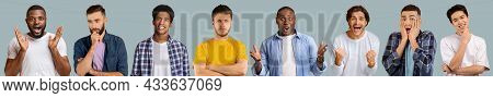 Emotional Multiracial Guys Grimacing And Gesturing On Blue