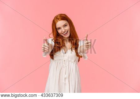 I Support Your Choice. Charismatic Excited, Happy Redhead Woman In White Dress, Showing Thumbs-up To