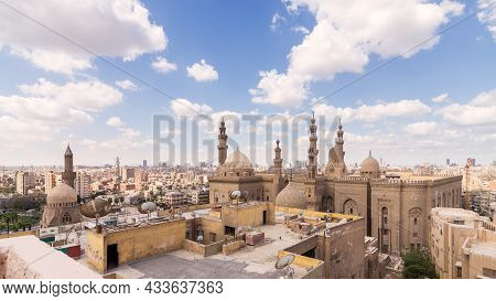 Day Shot Of Minarets And Domes Of Sultan Hasan Mosque And Al Rifai Mosque In Cairo, Egypt