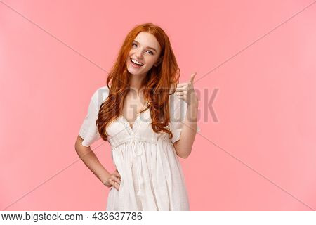 Confident Good-looking Redhead Optimistic Girl, Saying Everything Be Alright, All Good, Showing Thum