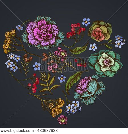 Heart Floral Design On Dark Background With Wax Flower, Forget Me Not Flower, Tansy, Ardisia, Brassi