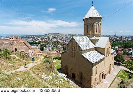 Tbilisi, Georgia - June 15, 2016: Saint Nicholas Church In Narikala Fortress And Panoramic View Of T