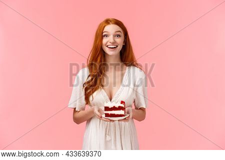 Excited, Upbeat Happy Alluring Redhead Woman In White Dress, Holding Plate With Delicious Birthday C