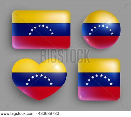 Set Of Glossy Buttons With Venezuela Country Flag. South America Country National Flag, Shiny Geomet