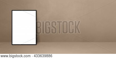 Black Picture Frame Leaning On A Beige Wall. Blank Mockup Template. Horizontal Banner
