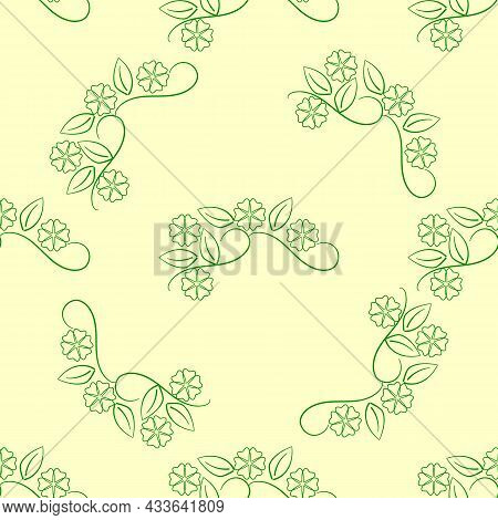 Summer Romantic Pattern With Colorful Flowers On Olive. Decorative Green Elegant Romantic Seamless P