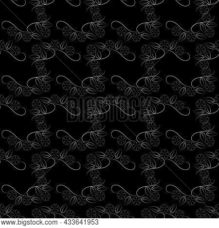 Gray Leafs On Black Monochrome Seamless Pattern. Fashion Graphic Background Design. Modern Abstract