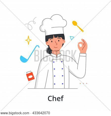 Young Female Character Is Enjoing Working As A Chef On White Background. Concept Of People Working T