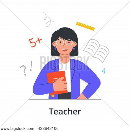 Female Character Enjoing Working As A Teacher In School On White Background. People Working On Dream