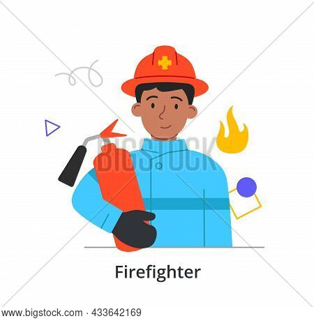 Young Male Character Is Enjoing Working As A Firefighter On White Background. Concept Of People Atte
