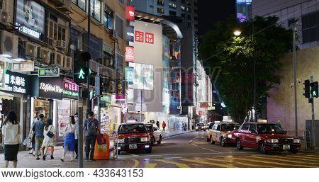 Causeway Bay, Hong Kong 30 March 2021: Hong Kong street at night