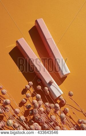 Lip Gloss In A Pink-to-white Gradient Case With Dry Plant . Top View On Orange Background. Beauty Co