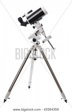 telescope isolated on white background poster