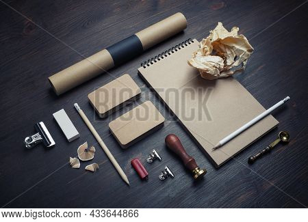 Blank Vintage Corporate Stationery Set On Wood Table Background. Corporate Identity Template. Respon