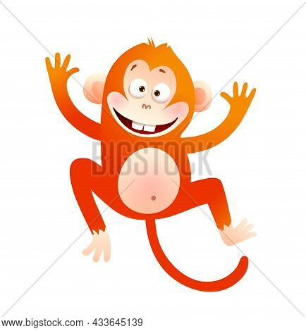 Baby Monkey Happy Cartoon Character Illustration. Animal For Kids Cute Primate Vector Drawing.