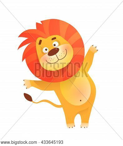Funny Friendly Greeting Lion For Kids And Children, African Humorous Safari Animal Mascot. Isolated