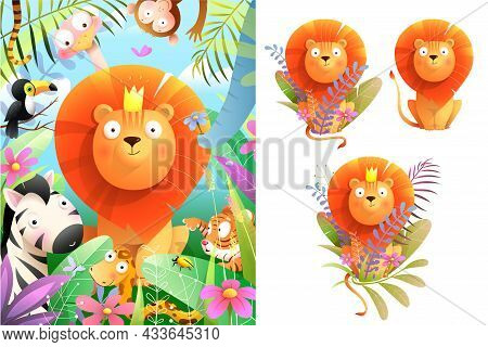 African Baby Lion King In Jungle Nature Watercolor Style Illustration For Greeting Card And Clipart