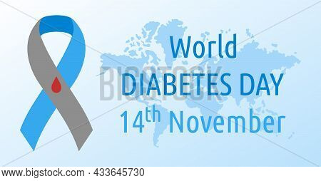 World Diabetes Day. Vector Poster. Symbol Diabetes Awareness Ribbon With Blood Drop And World Map. N