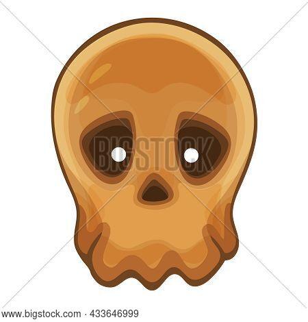 Human Skull Head Bones Sign. Halloween Cranium Skeleton Without Lower Jaw. Spooky Monster Braincase,