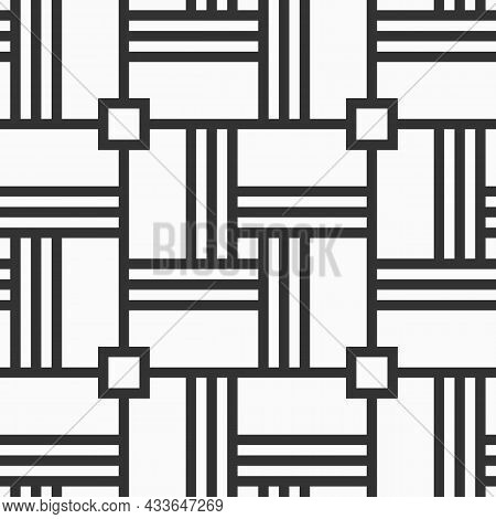 Abstract Vector Seamless Pattern. Geometric Background With Symmetric Lines Lattice. Repeating Geome