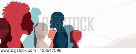Group Silhouette Profile Of Men And Women Of Diverse Culture. Diversity Multicultural People. Racial
