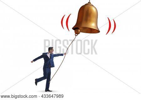Businessman ringing the bell in case of danger