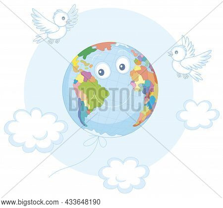 Day Of Peace, A Funny Globe Friendly Smiling And Flying Among White Clouds Like A Balloon With Merry