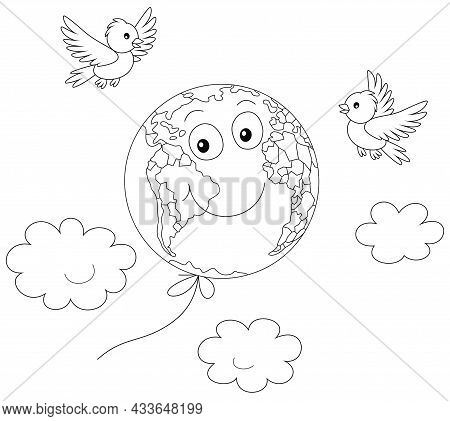 Day Of Peace, A Funny Globe Friendly Smiling And Flying Among Clouds Like A Balloon With Merry Small