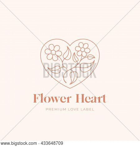 Flower Heart Abstract Romance Vector Sign, Symbol Or Linear Logo Template. Leaves With Flowers In A