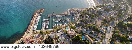 Panoramic Cropped Image Drone Point Of View Cabo Roig Harbour With Moored Docked Luxury Nautical Ves