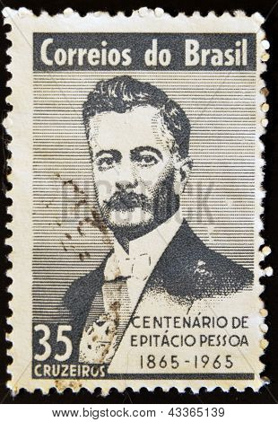 A stamp printed in Brazil shows Pessoa