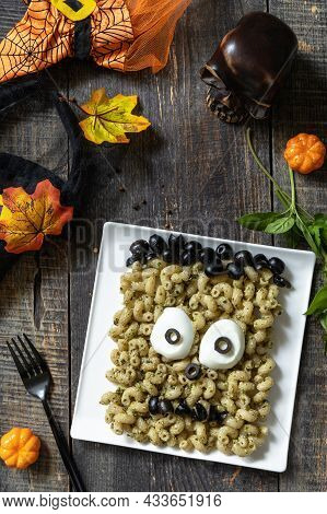 Halloween Funny Idea For Party Food, Decoration Celebration Kid Party Meal. Halloween With Pesto Cre