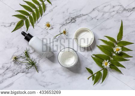 Natural Cosmetic Products. Daily Hygiene And Female Healthy Skincare. Cosmetic Cream And Skin Care S
