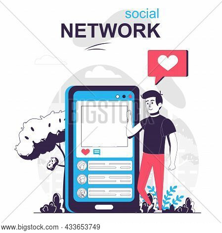 Social Network Isolated Cartoon Concept. Man Uses Social Media, Chats In Mobile Application, People