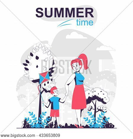 Summertime Activity Isolated Cartoon Concept. Mother And Son Walking In Park Together, People Scene