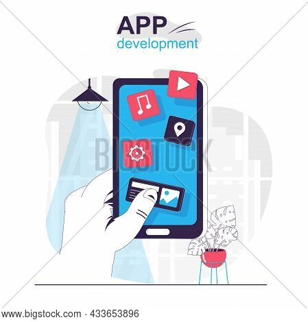App Development Isolated Cartoon Concept. Creation And Optimization Of Programs And Apps, People Sce