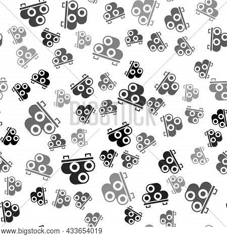 Black Sushi On Cutting Board Icon Isolated Seamless Pattern On White Background. Asian Food Sushi On