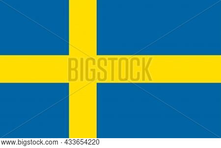 National Flag Of Sweden Original Size And Colors Vector Illustration, Sveriges Flagga With Yellow No