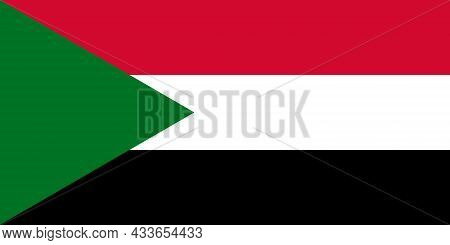 National Flag Of Sudan Original Size And Colors Vector Illustration, Made Intime Arab Liberation Fla