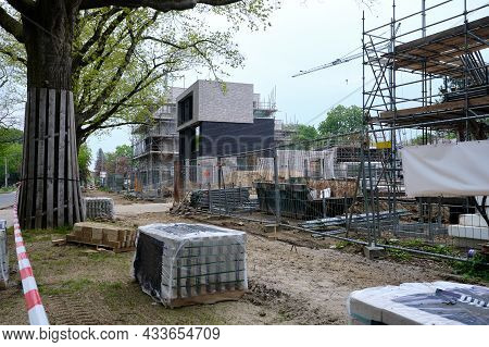 Amersfoort, Netherlands May 15 2021, Empty Construction Site In The Netherlands With Newly Build Hou