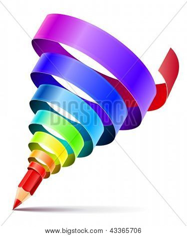 creative art pencil design concept with spiral of color rainbow ribbon isolated on white background - eps10 vector illustration.