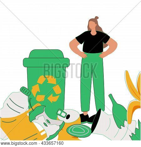 Green Packaging As Household Plastic Items And Paper Recycling Tiny Person Concept. Sustainable Choi