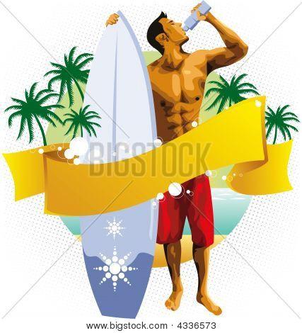 Surfer Man Drinking On Beach